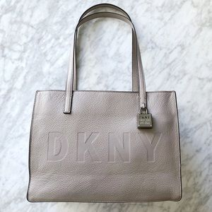 DKNY Commuter Medium Tote in Grey Pebble Leather